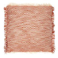 Home Collection Orange textured fringed cushion | Debenhams