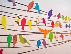 Birds on a Wire Wall Decals Birds for the wall. Could be vinyl decals, but what if it was thin rope or fabric strips and fabric birds?Birds for the wall. Could be vinyl decals, but what if it was thin rope or fabric strips and fabric birds? Art For Kids, Crafts For Kids, Classe D'art, Ecole Art, Art Club, Art Plastique, Teaching Art, Elementary Art, Art Auction