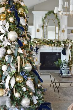 Blue and Green Tartan Plaid Christmas Home Tour 2019 – Style House Interiors – 2020 Merry Christmas Tartan Christmas, Silver Christmas Decorations, Office Christmas, Christmas Tree Themes, Green Christmas, Christmas Home, Christmas Mantles, Vintage Christmas, Christmas Villages