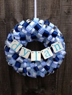 New Baby Boy Ribbon Wreath- Personalised gifts for Celebrating the birth of a Baby boy or Girl