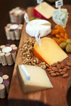 Cheese plate with cheese markers - wine and cheese party