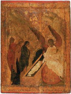 Donne mirofore al sepolcro del Signore. Scuola di Andrei Rublev_ Anni 1425-1427.