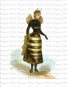 Victorian Bee Woman Digital Download Collage Sheet