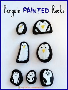 Penguin Painted Rocks Inspired by What's in the Egg, Little Pip? by Karma Wilson #vbcforkids