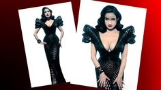 This dress comes from the collaboration between fashion photographer, Michael Schmidt and designer, Francis Bitonti. This mesh dress was custom 3D printed specifically for Dita Von Teese, the model shown. Due to the customary fit, the dress is precisely proportionate to Dita's body, except for in the shoulders. The shoulder detail is winged out in length, which, in terms of scale, makes them over-sized in comparison to the actual size of her shoulders.