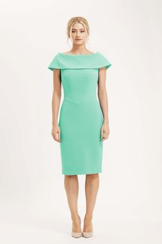The Palermo dress is simply stunning. Fitted pencil dress silhouette, with wide off the shoulder collar which covers the shoulders beautifully. Mint green