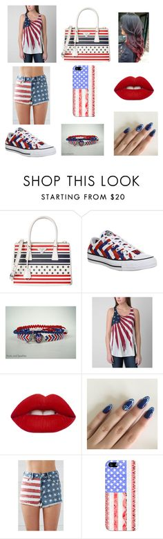 """Red, White, and Blue"" by gabriall-d ❤ liked on Polyvore featuring Prada, Converse, White Crow, Lime Crime, Bullhead Denim Co. and Casetify"