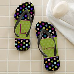 Polka Dots For Her Personalized Adult Flip Flops