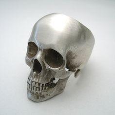 stainless steel skull ring full by noformdesign on Etsy