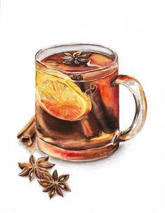 Посмотреть иллюстрацию Лидия - чай. чай с лимоном и специями, корица, бадьян