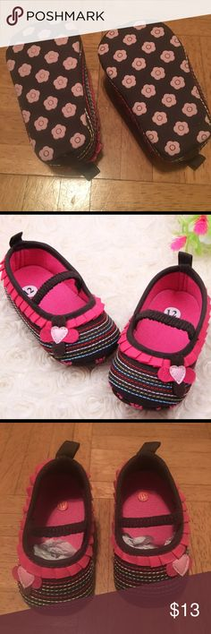 Pink & Brown Flower Ballet Crib Flat Shoes Brand new baby girl Crib Shoes. Size 9-12 month Shoes Baby & Walker