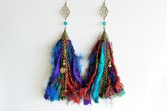 Sari Silk Earrings Gypsy Tribal Boho