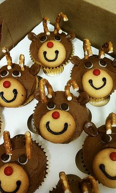 Cupcakes Take The Cake: Pretzel antlers on reindeer cupcakes