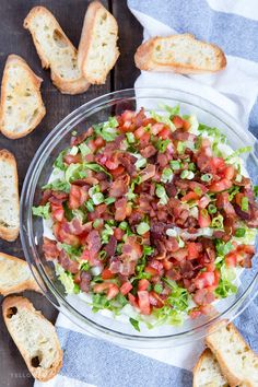 BLT Dip is a creamy and delicious combination of flavors from the classic sandwich favorite. Served with crostini for dipping, it's a game day party hit! Best Party Appetizers, Party Dip Recipes, Best Party Food, Cold Appetizers, Appetizer Dips, Healthy Appetizers, Appetizer Recipes, Italian Appetizers, Party Dips