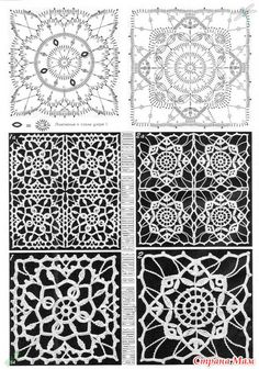 "Photo from album ""Дуплет on Yandex. Crochet Stitches Chart, Crochet Mandala Pattern, Crochet Diagram, Crochet Squares, Russian Crochet, Irish Crochet, Lace Patterns, Crochet Patterns, Crochet Ornaments"