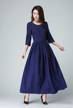 bleu robe robe longue robe en lin robe de soirée coude