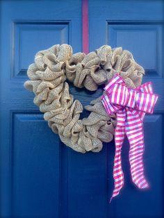 Valentine Wreath Heart Wreath  Burlap Wreath by WreathsByRebeccaB, $32.00