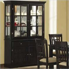 Coaster Baldwin Buffet & Hutch with 2 Glass Doors Deep Cappuccino - Add functionality and charming simplicity to your dining room with this dining buffet and hutch. A relaxed style is demonstrated with a unique grid pattern on wooden doors and simple knob hardware, all while bathed in a rich cappuccino finish. The buffet base includes two drawers and two doors, providing storage for silver, table settings, and other dining room accessories.