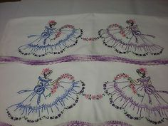 Vintage Pair Pillowcases Southern Belle Hand Embroidered Beautiful Linens | Collectibles, Linens & Textiles (1930-Now), Bed & Bath Linens | eBay!
