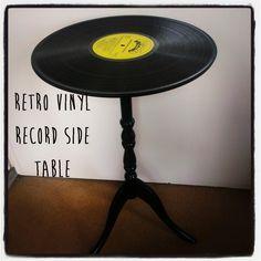 Taburete Retro con discos de vinilo