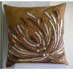 Cracker - Pillow Sham Covers - 24x24 Inches Silk Pillow Sham Cover Embroidered with Different Color Sequins & Beads