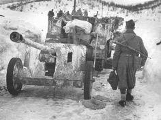 Fighter People's Liberation Army of Yugoslavia (AVNOJ) in column captured 50 mm PaK 38 anti-tank guns after the battle for the town of Nevesinje (Nevesinje, modern Bosnia and Herzegovina).