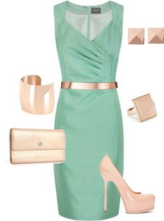Trend Alert: Mint and Champagne...perfect!: Spring time palette. Pair these two colors together using clothes in your closet now to modernize your existing wardrobe. #spring #trends