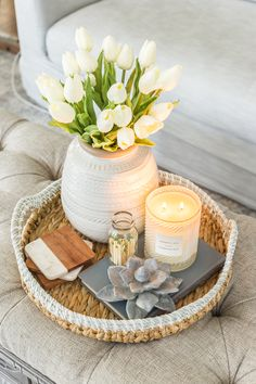 Simple spring home tour bless er house simple spring home tour spring coffee table decor with artificial white tulips bless blesser home house simple spring tour designerbett nuno cm buche nussbaumfarben massivholzbett Coffee Table Styling, Diy Coffee Table, Decorating Coffee Tables, Easy Coffee, Coffee Table Arrangements, How To Decorate Coffee Table, Coffee Table Flowers, Coffee Table Vignettes, What To Put On A Coffee Table