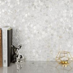 Capturing the lustrous beauty of natural seashells, our Conchella Mini Penny White in. Featuring an exquisite Ceramic Mosaic Tile, Mosaic Wall Tiles, Mosaic Glass, White Bathroom Wall Tiles, Master Bathroom, Fireplace Facade, Fireplace Surrounds, Wall Installation, Stone Tiles