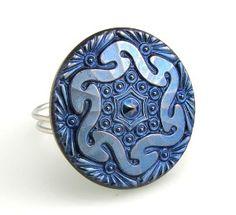 Cobalt Blue Vintage Czech Glass Button Ring