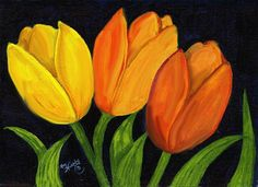 Tulips Original acrylic painting on canvas by KayMurphysStudio, $60.00