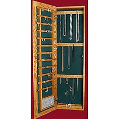 Recessed Wall-Mounted Wooden Jewelry Armoire - 14.25W x 48H in. - Brought to you by Avarsha.com