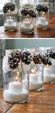 Christmas decorations tinker with pine cones - wonderful DIY ba .- Weihnachtsdeko basteln mit Tannenzapfen – Wundervolle DIY Bastelideen Christmas decorations with pine cones – DIY craft ideas – pine cones mason jar decoration - Mason Jar Christmas Crafts, Noel Christmas, Mason Jar Crafts, Xmas Crafts, Christmas Projects, Winter Christmas, Christmas Ornaments, Diy Crafts, Christmas Gifts