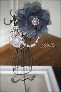 Baby Boutique 4-in-1 Beaded Pacifier Holder -Shabby Chic Gray Flower with Pink Pearl Center