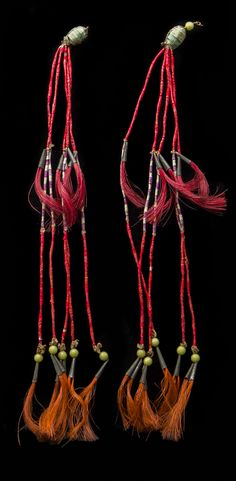 USA | Head ornaments from the Pains Indians. Lakota | Quill, leather, glass beads, horsehair and metal. ca. 1890 || These belonged to Short Bull (c. 1851 - 1935). Indian Sicangu (Brulé). Leader of the Ghost Dance 1890