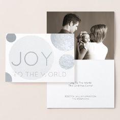 #Silver Holiday Joy Modern Polka Dots Add Photo Foil Card - #Xmas #ChristmasEve Christmas Eve #Christmas #merry #xmas #family #kids #gifts #holidays #Santa