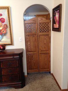 """Interior Custom Full Length Cafe Doors Saloon Doors Swinging Doors Lattice Style Top (24"""" - 36"""" Door Openings) Entry for Kitchen"""