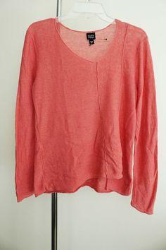 Eileen Fisher sweater lagenlook top artsy art to wear artist coral Linen sz S #EileenFisher #VNeck