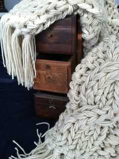 Chunky Knit Blanket by AforeverHeirloom on Etsy  **Wow  #knitblanket  #knitting  #etsy