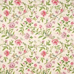 Shop for Fabric at Style Library: Porcelain Garden by Sanderson. Inspired by designs of early century hand-painted Chinese wallpaper, this cott. Painted Rug, Hand Painted, Harlequin Fabrics, Decoupage, Sanderson Fabric, Chinese Wallpaper, Victorian Tiles, Scrapbooking, Scrapbook Paper