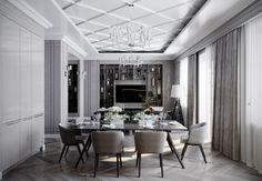 living room, kitchen, design interior, vizualization, гостиная, дизайн гостиной, кухня, дизайн кухни, luxury interior, black, beige, appartement, american classic interior, neoclassic, современная классика, американская классика, неоклассика, черный, бежевый, полки, тв стенка, shelf, dinning room, обеденная зона