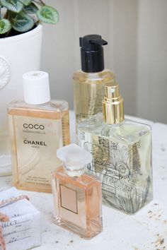 Beautiful vignette with the soft pink of one of my favorites: Chanel Coco Mademoiselle