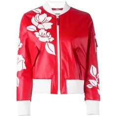 Fendi floral bomber jacket (6 240 AUD) ❤ liked on Polyvore featuring outerwear, jackets, red, patterned bomber jacket, floral bomber jacket, print bomber jacket, leather jackets and red jacket
