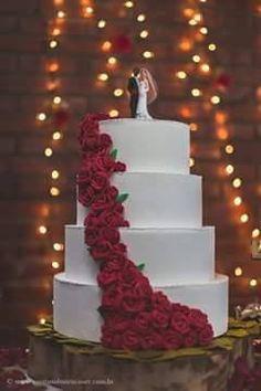 Bolo Fake EVa - Casamento Rosas Vermelhas Bolo Fake Eva, Desserts, Red Roses, Porto, Cakes, Tailgate Desserts, Deserts, Postres, Dessert