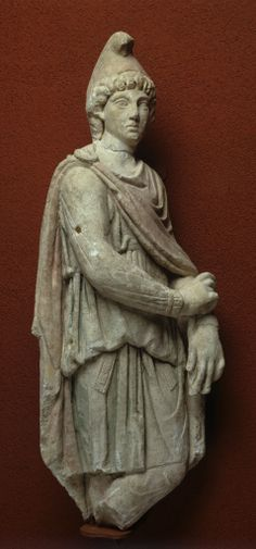 2nd – 3rd C. CE Cautopates, (with Cautès) were the two companions of Mithra, whose  secret cult was extremely popular among the Roman Legions throughout the empire from the 2nd C.-4th C. This limestone statue in the Temple of Bordeaux presents Cautopatès dressed in quasi-persian fashion like Mithra  with a Phrygian cap and cape painted in red. Musee D'Aquitaine