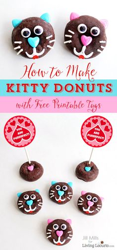 How to make cute kitty cat donuts. Fun food recipe idea purr-fect for a pet themed birthday party or Valentine's Day. Edible craft with free printable tags. Edible Crafts, Food Crafts, Valentines Day Party, Valentine Day Crafts, Oreo Dessert, Cat Birthday, Birthday Party Themes, Birthday Ideas, Mini Desserts