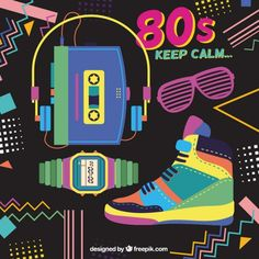 Memphis background with eighties objects Free Vector