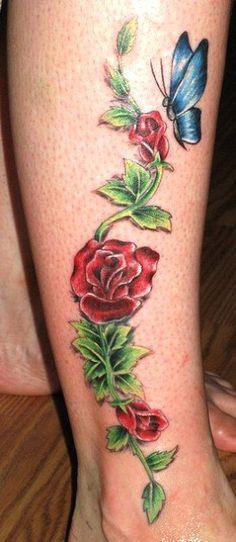Ankle Vine Tattoos for Women | post navigation butterfly rose vine tattoo hip butterfly skull tattoo