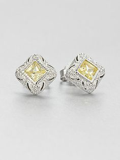 Judith Ripka Crystal & Sterling Silver Stud Earrings