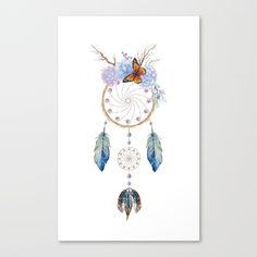 Boho dream catcher with feathers and flowers canvas print. Hang it on your wall :)